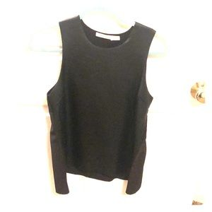 Black faux leather front tank never worn